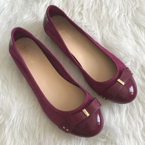 Cole Haan Shoes - Cole Haan Magenta Suede Nike Air Bow Scrunch Flats