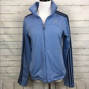 ADIDAS blue zip front signature stripe jacket blue
