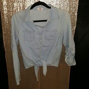 l.e.i Tops - l.e.i. front tie jean shirt