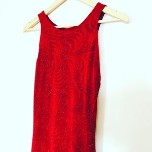 Cache Dresses & Skirts - Red midi cocktail dress with open back
