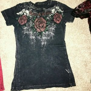 Sinful Tops - Sinful Rose Print Tee