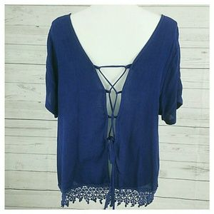 Zenana Outfitters Tops - Top 2X wet seal Lace up back gauzey BNWT blue