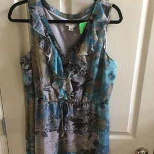 Loft print dress elastic waist
