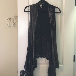 Black dyed and fringed vest