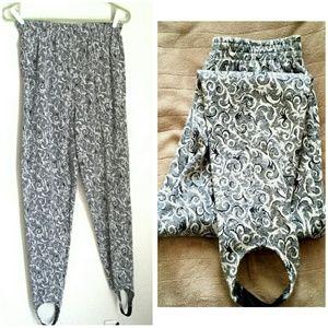 Vintage Pants - Vtg. 80s Stirrup Pants David Wayne Gray & White