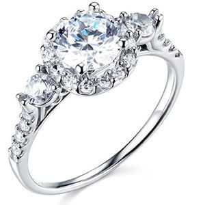 Jewelry - 14k Solid White Gold Diamond Ring