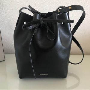 Mini Mansur Gavriel Bucket Bag in black interior
