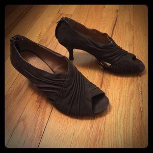 Corso Como Shoes - brown suede peep heels