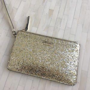 Kate Spade Gold Glitter Wristlet