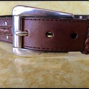 Michael Kors Stud Brown Genuine Leather Belt Large