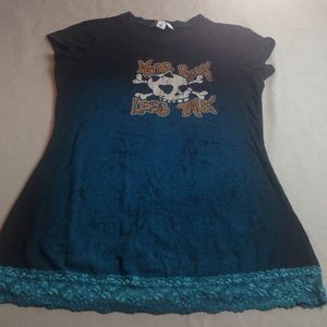 ANCHOR BLUE Tops - SKULL MORE ROCK LESS TALK TOP EXCELLENT CONDITION