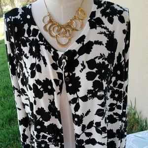 Sweaters - Basic Editions Black White Floral Cardigan 2X