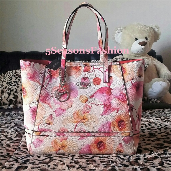 83c521adcf GUESS Pink Floral SATCHEL Radiant TOTE TEXTURED