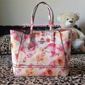 Guess Handbags - GUESS Pink Floral SATCHEL Radiant TOTE TEXTURED