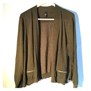 Sweaters - Olive green open cardigan