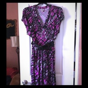 Women's Multi-Print Plus size Dress w/ belt