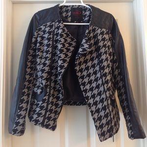 Yoki Jackets & Blazers - Houndstooth Faux Leather Biker Jacket Coat