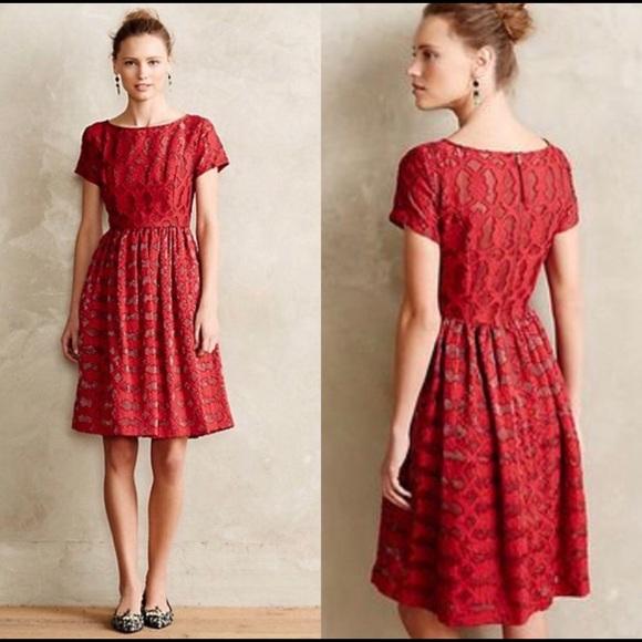 Anthropologie Dresses Moulinette Soeurs Red Lace Dress