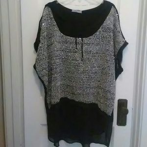 zedd plus Tops - Black and Silver sequin top with a hood.