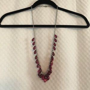 LOFT Jewelry - LOFT Pink Ombré Raindrop Silvertone Necklace
