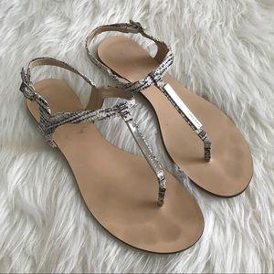 Calvin Klein Shoes - Calvin Klein Silver Bar Snakeskin Thong Sandals