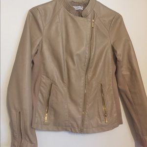 """Beige """"leather"""" Calvin Klein Moto Jacket"""