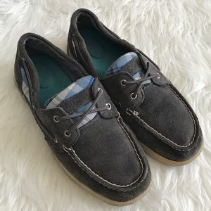 Sperry Top-Sider Shoes - Speedy Gray Suede Plaid Slip On Boat Shoes