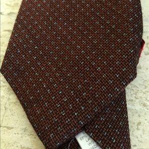 Isaia Other - NWT $235 Isaia Tie Deep Orange Dot Wool/Silk
