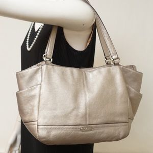 Coach Handbags - COACH PARK SILVER LEATHER TOTE
