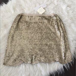 Peek Other - Girls gold scalloped skirt. Gold sequin skirt.