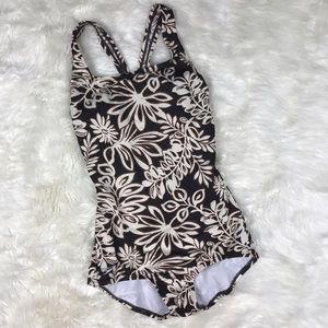 Speedo Other - Speedo one piece swimsuit brown floral size 8
