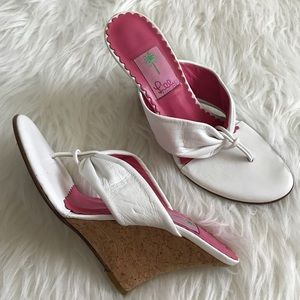Lilly Pulitzer Shoes - Lilly Pulitzer White Leather Thong Cork Wedges