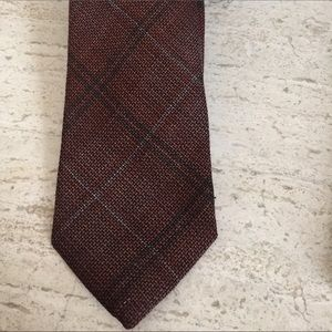 Isaia Other - NWT $235 Isaia Tie Rusted Orange Plaid. Wool/silk