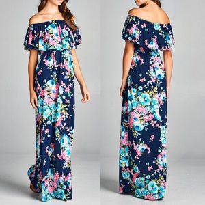 Pink Peplum Boutique Dresses & Skirts - 🆕 Navy floral off the shoulder ruffle maxi dress
