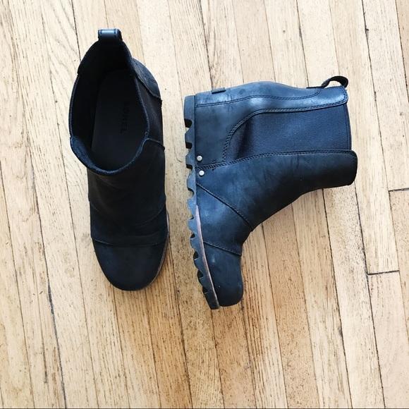 Sorel Shoes - Sorel Lea Wedge Ankle Boot Bootie Black