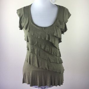 IZ Byer Tiered ruffled top shirt in olive green S