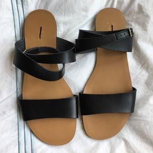 J. Crew Shoes - J.Crew black ankle strap faux leather sandals