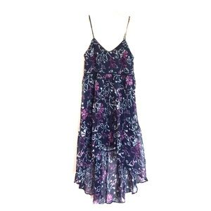 Anthropologie Dresses & Skirts - Ecote navy purple floral high low flowy dress S