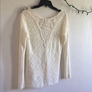 Hippie Rose Sweaters - Cream lace sweater
