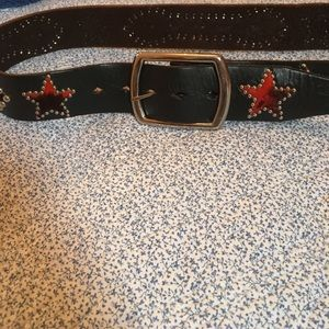 Accessories - super brown leather belt with bling