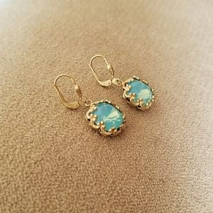 Catherine Popesco Jewelry - Fancy Medium Stone Round Earrings - Pacific Opal