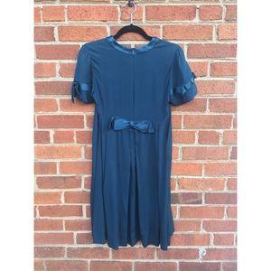 Karen Zambos Dresses & Skirts - Karen Zambos Vintage Couture Navy Bowtie Dress