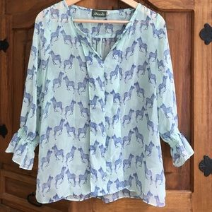 maude Tops - Light blue zebra top
