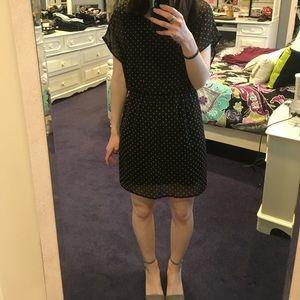 Lush Dresses & Skirts - Gold and Black polka dot dress