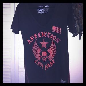 Affliction Tops - Affliction ladies size large LIVE FAST t flawless