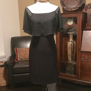Curvy Couture Dresses & Skirts - Black Knit Chiffon on or Off shoulder dress