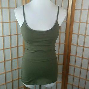 (NWT) Express army green cami, built in shelf bra
