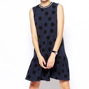 ASOS Dresses & Skirts - ASOS Petite Blue Polka Dot Drop Waist Dress
