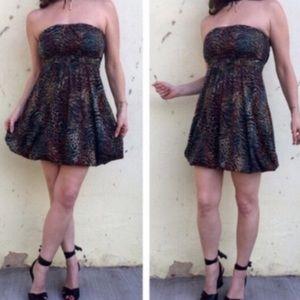 American Rag Dresses & Skirts - Strapless DRESS sundress GREEN black MINI M PRINT