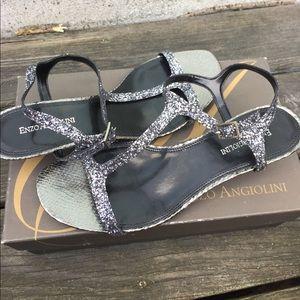 Enzo Angiolini sparkle strap mini heel